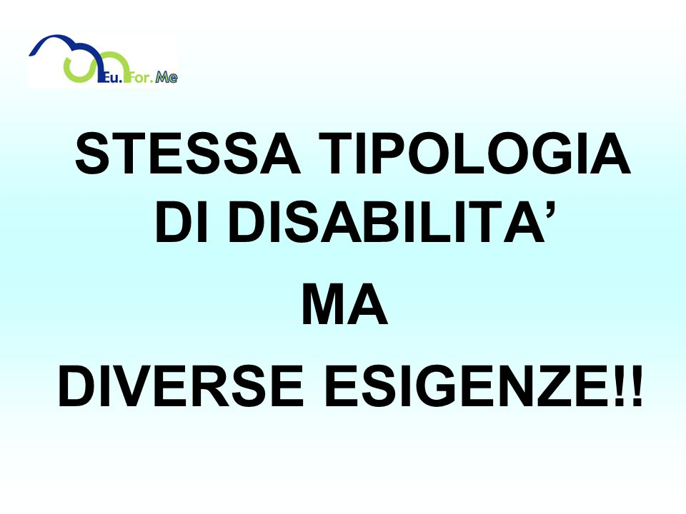 STESSA TIPOLOGIA DI DISABILITA'