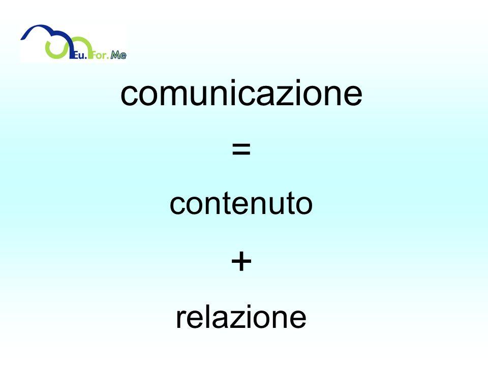 comunicazione = contenuto + relazione