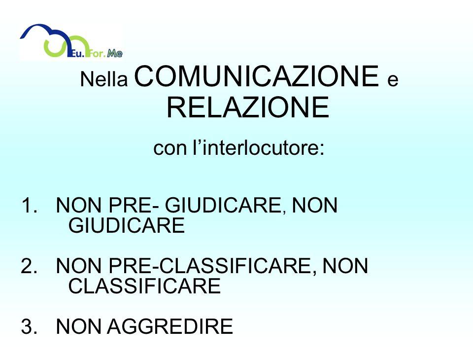 Nella COMUNICAZIONE e RELAZIONE