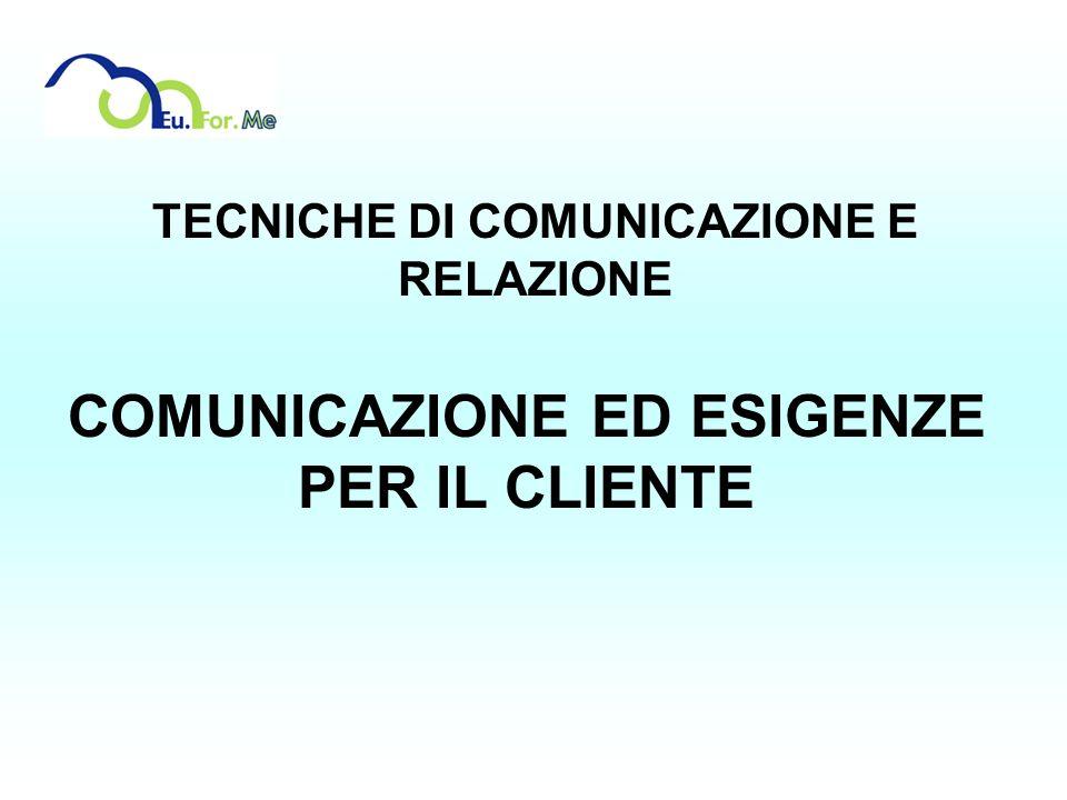 TECNICHE DI COMUNICAZIONE E RELAZIONE