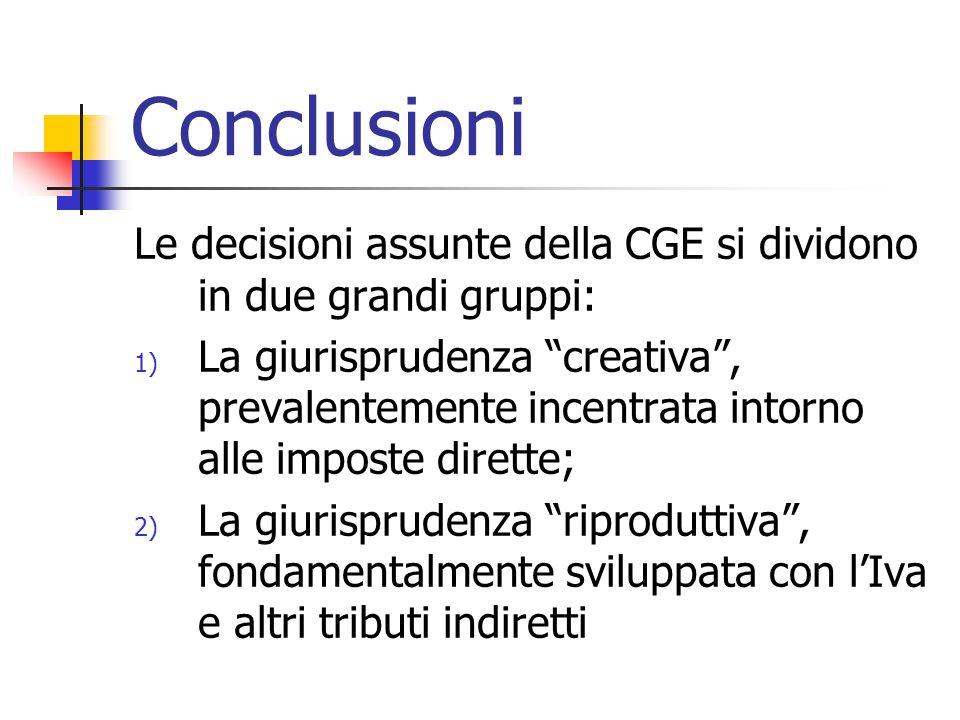 Conclusioni Le decisioni assunte della CGE si dividono in due grandi gruppi: