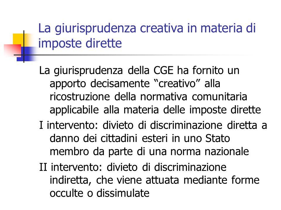 La giurisprudenza creativa in materia di imposte dirette