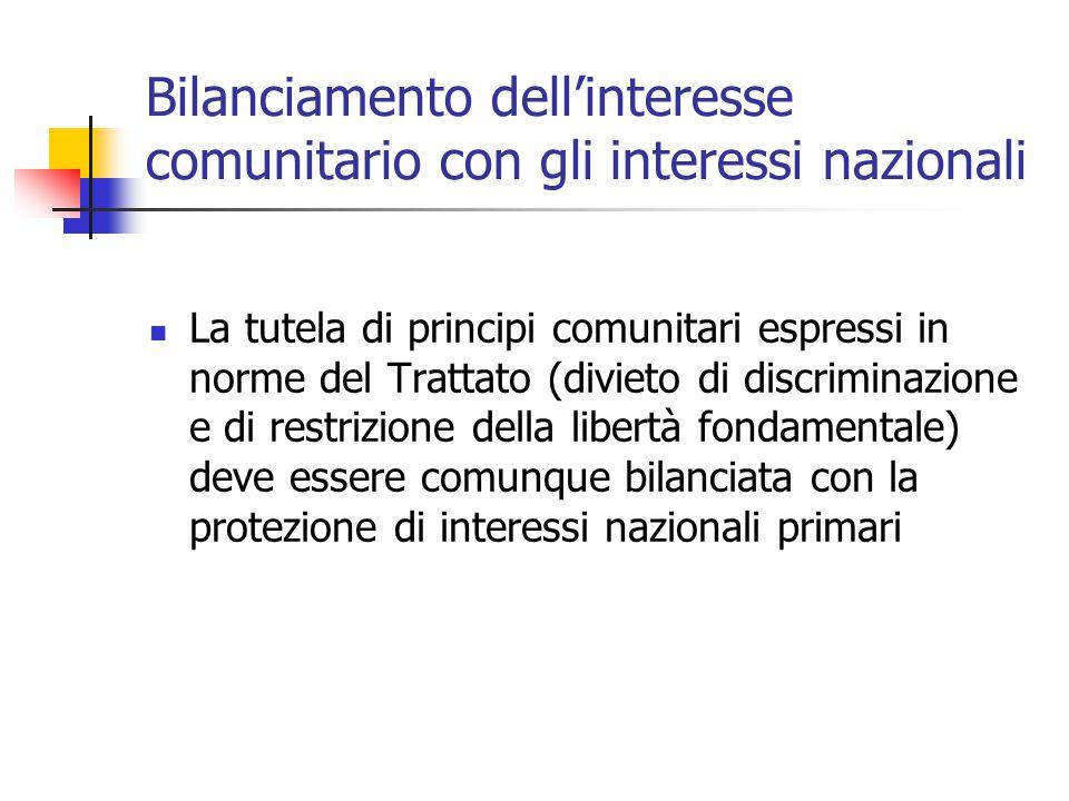 Bilanciamento dell'interesse comunitario con gli interessi nazionali