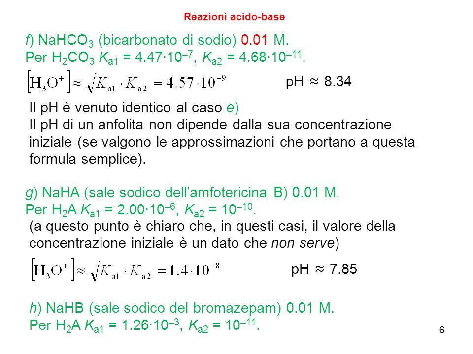f) NaHCO3 (bicarbonato di sodio) 0.01 M.