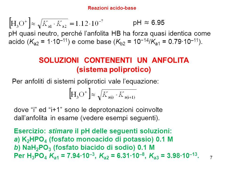 SOLUZIONI CONTENENTI UN ANFOLITA (sistema poliprotico)