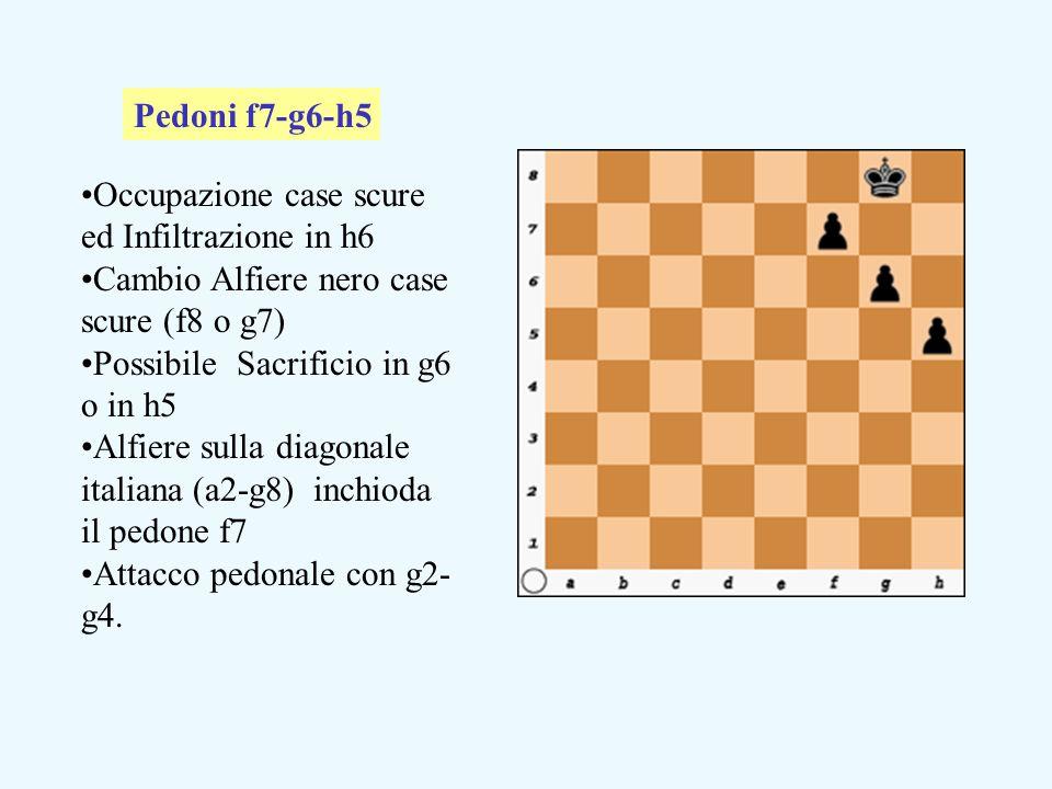 Pedoni f7-g6-h5 Occupazione case scure ed Infiltrazione in h6. Cambio Alfiere nero case scure (f8 o g7)