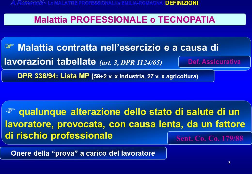 A.Romanelli ~ Le MALATTIE PROFESSIONALI in EMILIA-ROMAGNA :DEFINIZIONI