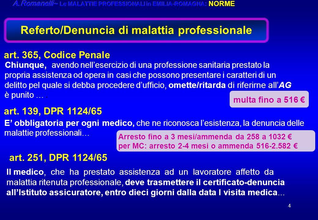 Referto/Denuncia di malattia professionale