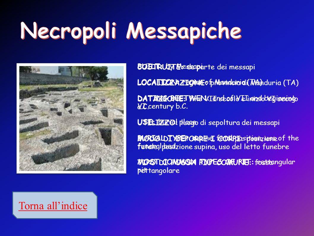 Necropoli Messapiche Torna all'indice COSTRUITE: da parte dei messapi
