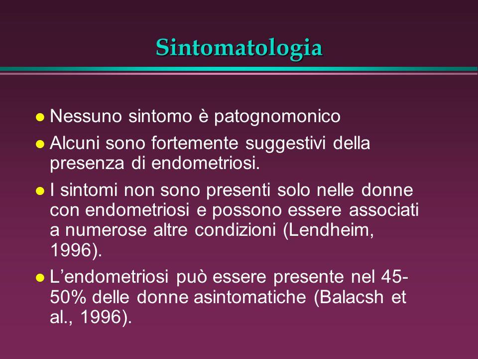 Sintomatologia Nessuno sintomo è patognomonico
