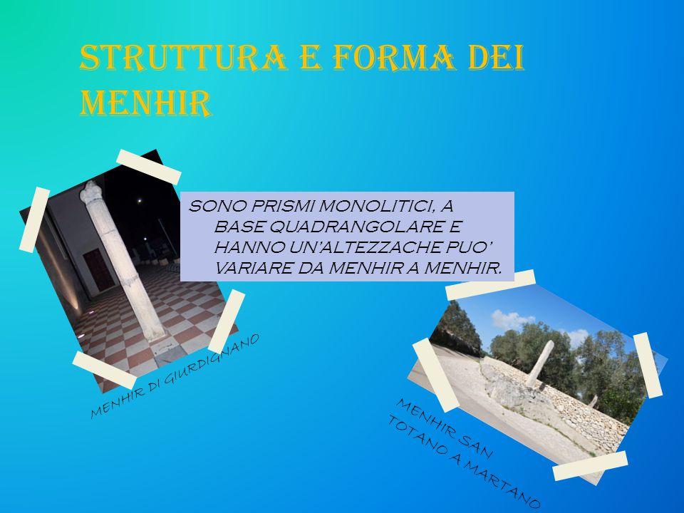 STRUTTURA E FORMA DEI MENHIR