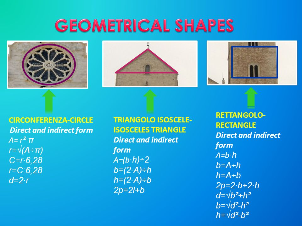 GEOMETRICAL SHAPES RETTANGOLO- RECTANGLE Direct and indirect form
