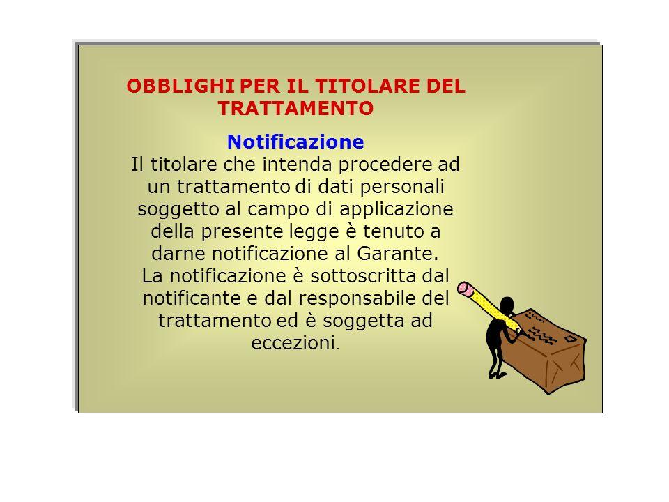 OBBLIGHI PER IL TITOLARE DEL TRATTAMENTO