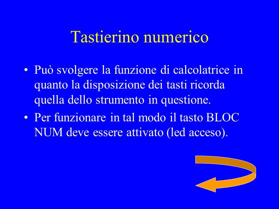 Tastierino numerico Può svolgere la funzione di calcolatrice in quanto la disposizione dei tasti ricorda quella dello strumento in questione.