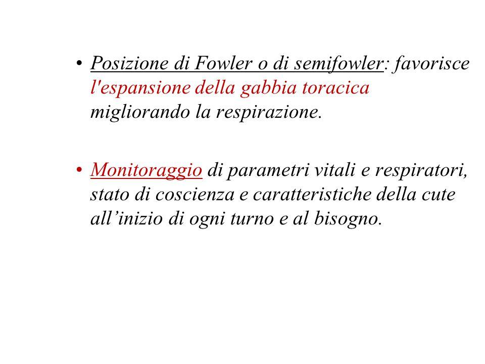 Posizione di Fowler o di semifowler: favorisce l espansione della gabbia toracica migliorando la respirazione.