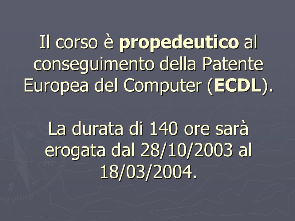 Il corso è propedeutico al conseguimento della Patente Europea del Computer (ECDL).