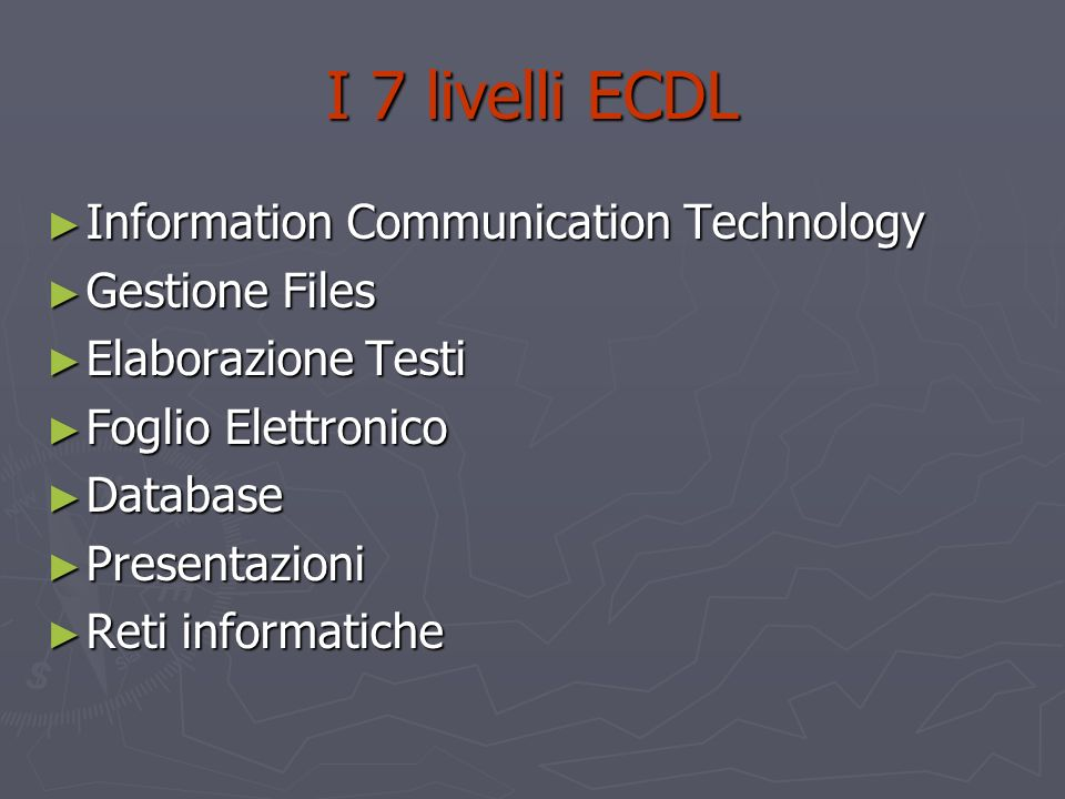 I 7 livelli ECDL Information Communication Technology Gestione Files