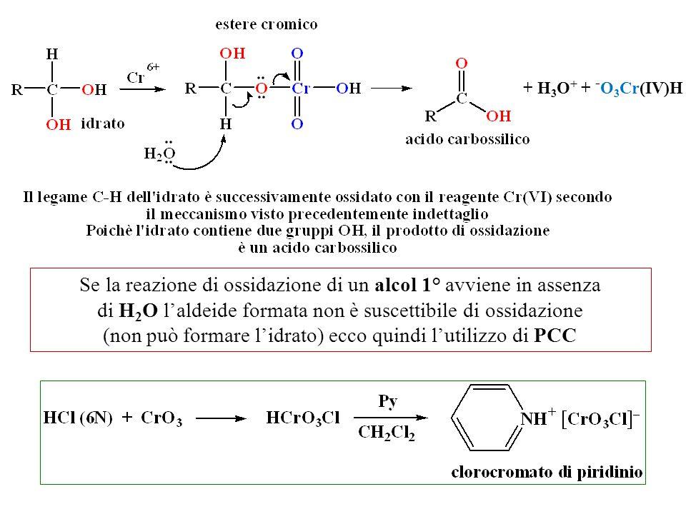 Se la reazione di ossidazione di un alcol 1° avviene in assenza