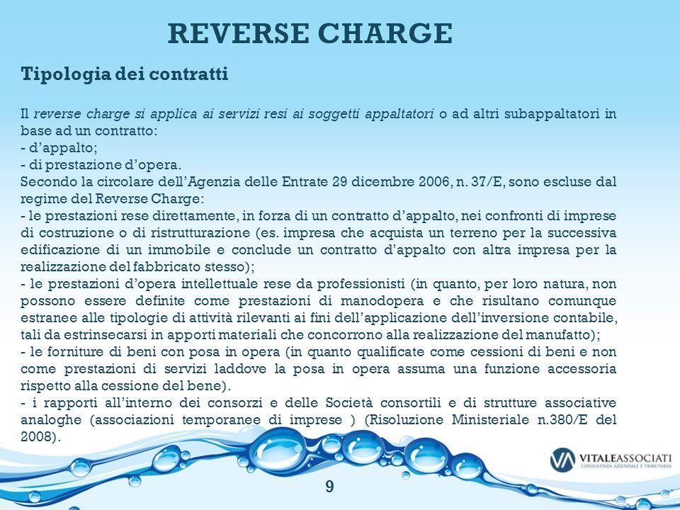 REVERSE CHARGE Tipologia dei contratti 9