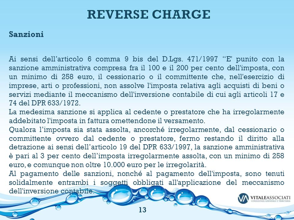 REVERSE CHARGE Sanzioni