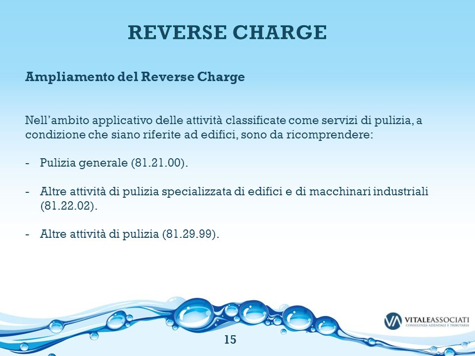 REVERSE CHARGE Ampliamento del Reverse Charge