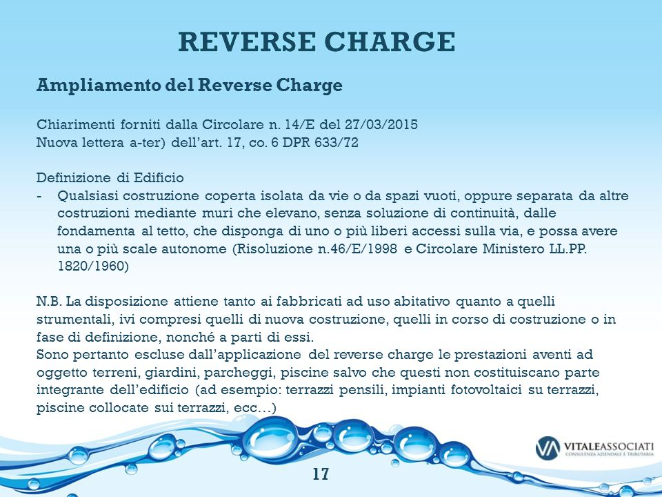 REVERSE CHARGE Ampliamento del Reverse Charge 17