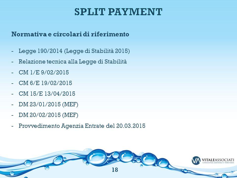 SPLIT PAYMENT Normativa e circolari di riferimento
