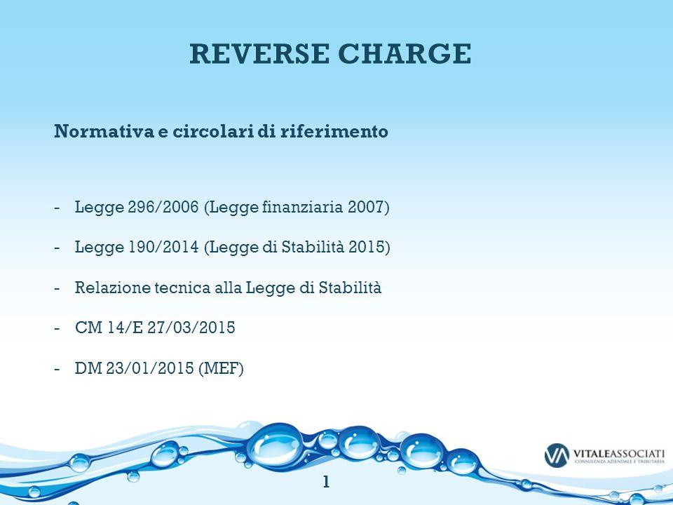 REVERSE CHARGE Normativa e circolari di riferimento
