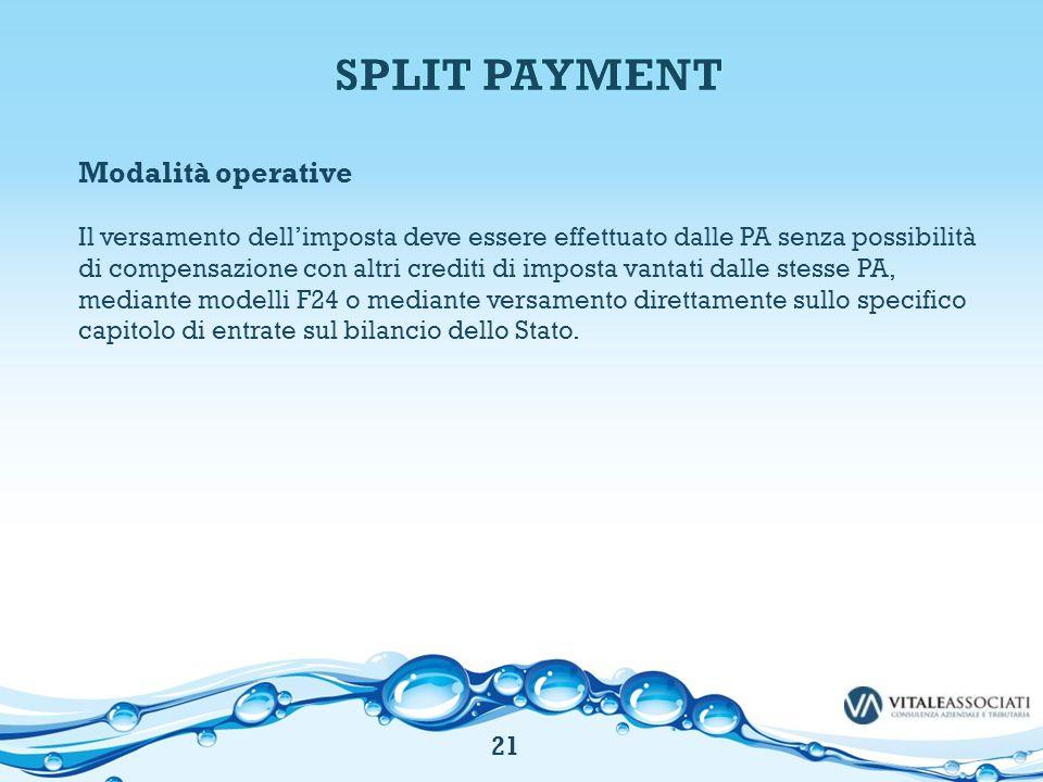 SPLIT PAYMENT Modalità operative