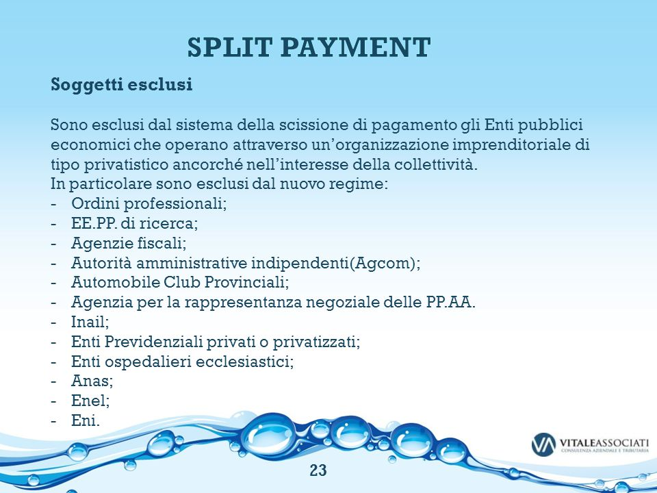 SPLIT PAYMENT Soggetti esclusi