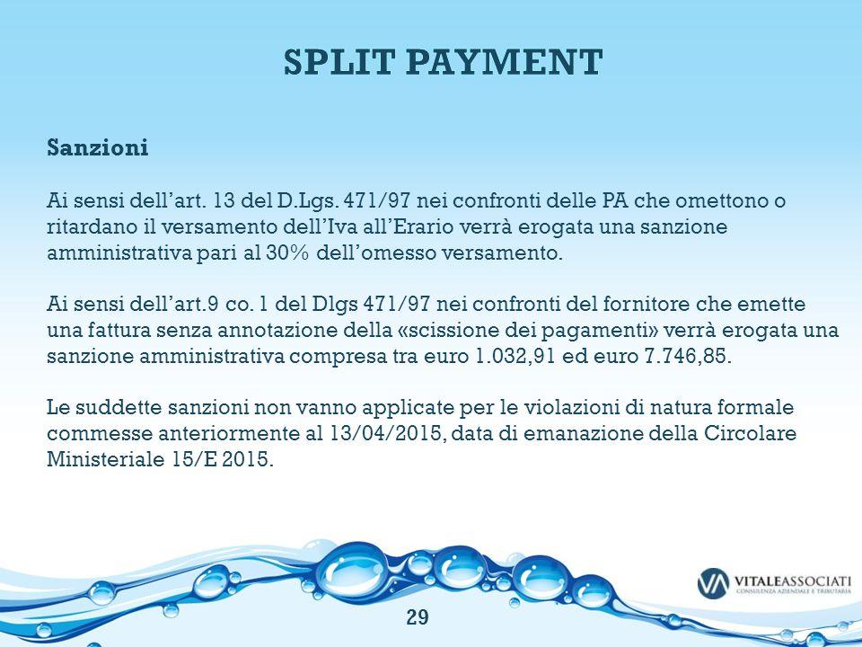 SPLIT PAYMENT Sanzioni