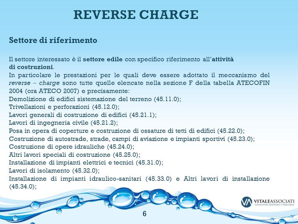 REVERSE CHARGE Settore di riferimento 6