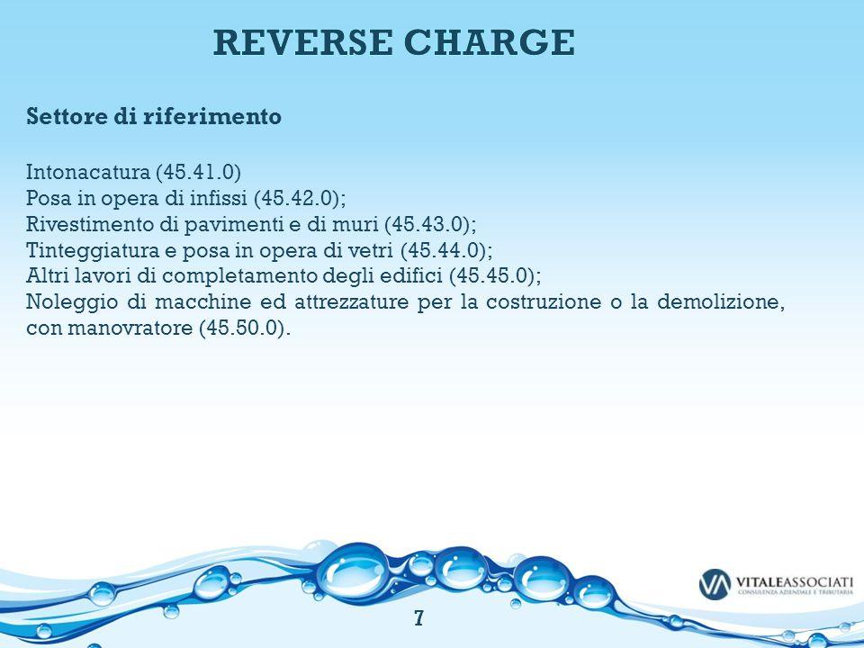 REVERSE CHARGE Settore di riferimento Intonacatura (45.41.0)