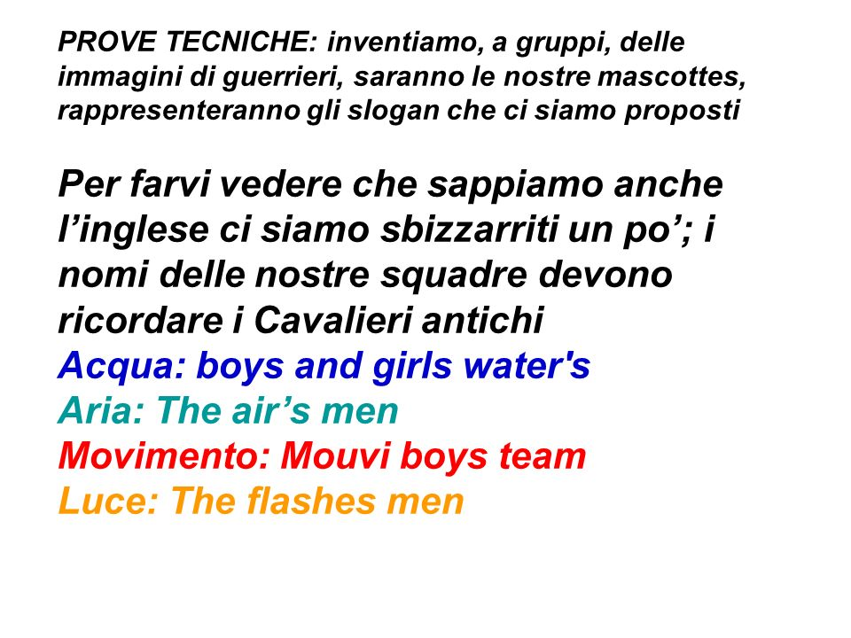 Acqua: boys and girls water s Aria: The air's men