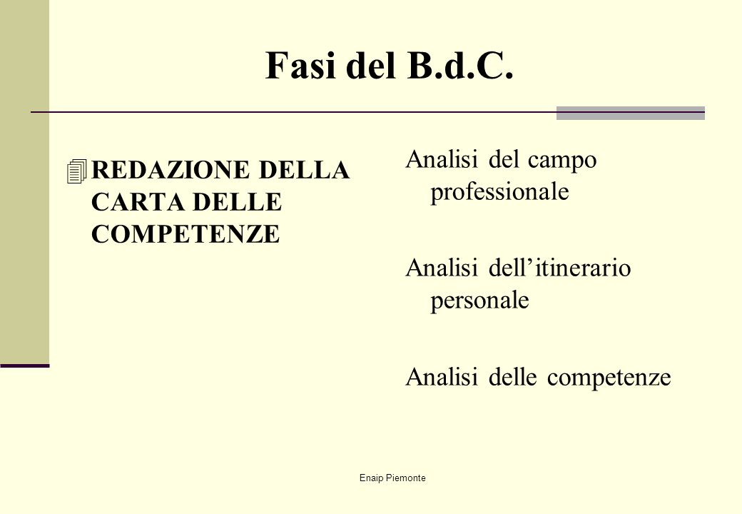 Fasi del B.d.C. Analisi del campo professionale