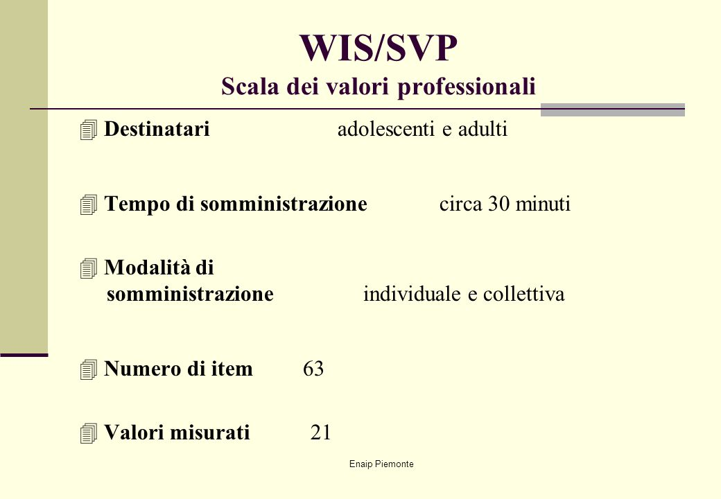 WIS/SVP Scala dei valori professionali