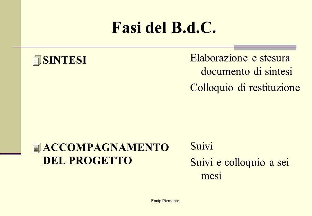 Fasi del B.d.C. Elaborazione e stesura documento di sintesi SINTESI