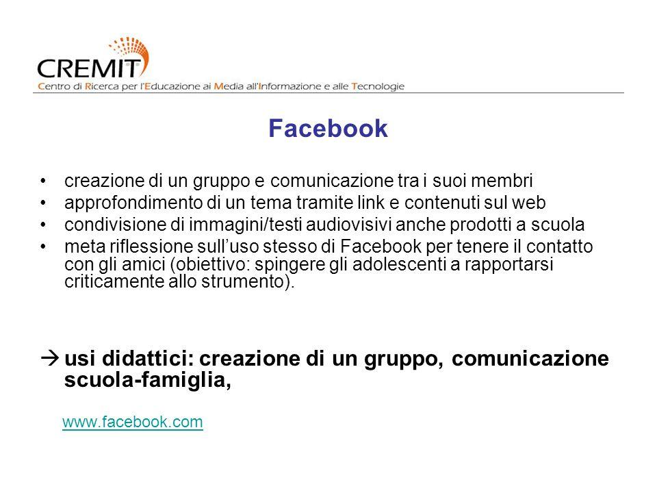 Facebook creazione di un gruppo e comunicazione tra i suoi membri. approfondimento di un tema tramite link e contenuti sul web.