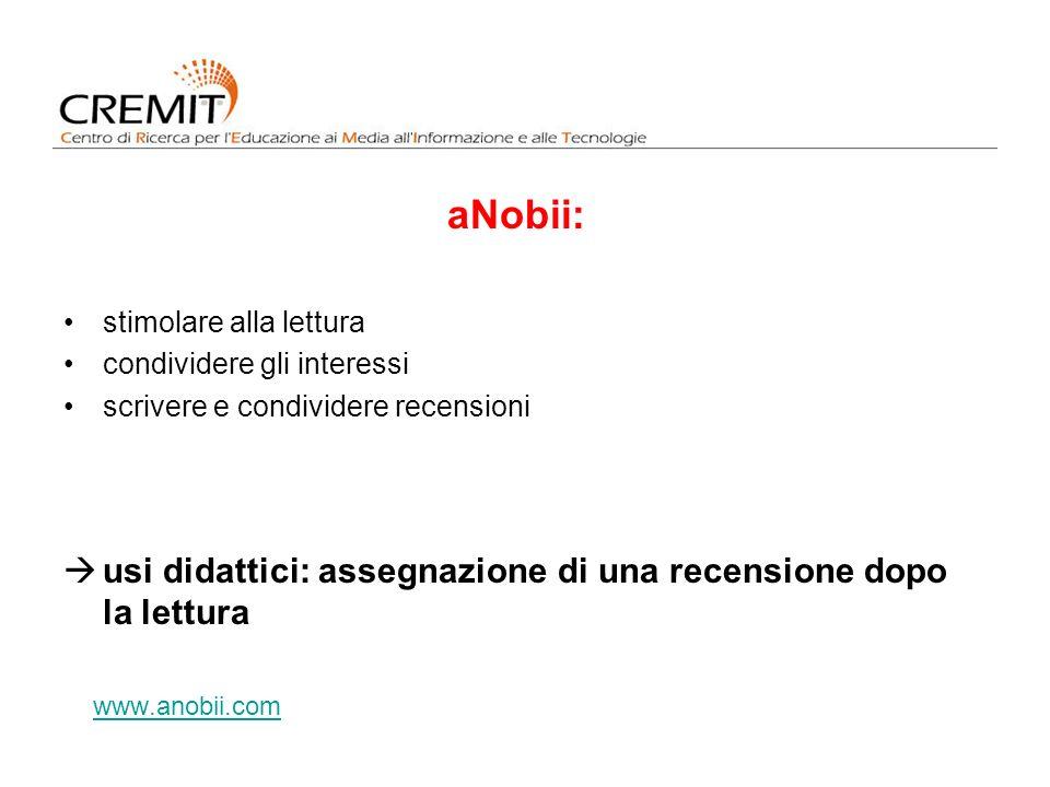 aNobii: usi didattici: assegnazione di una recensione dopo la lettura