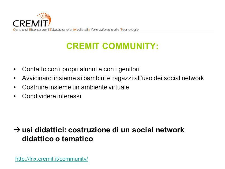 CREMIT COMMUNITY: Contatto con i propri alunni e con i genitori. Avvicinarci insieme ai bambini e ragazzi all'uso dei social network.