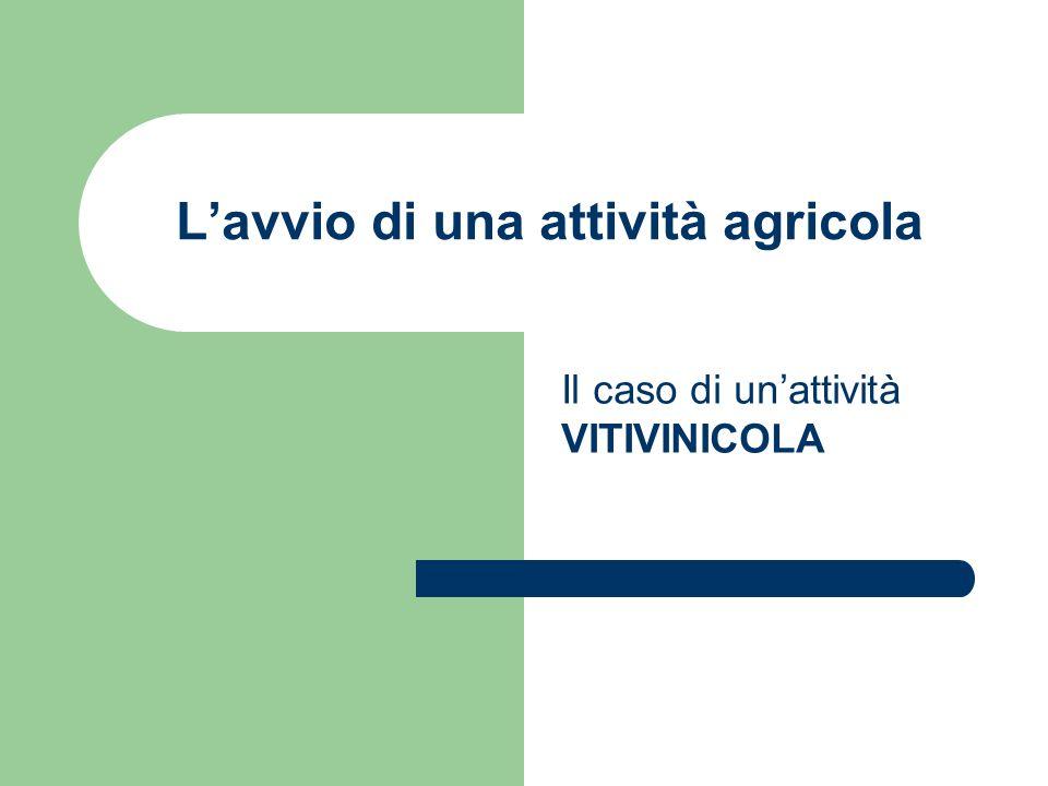 L'avvio di una attività agricola