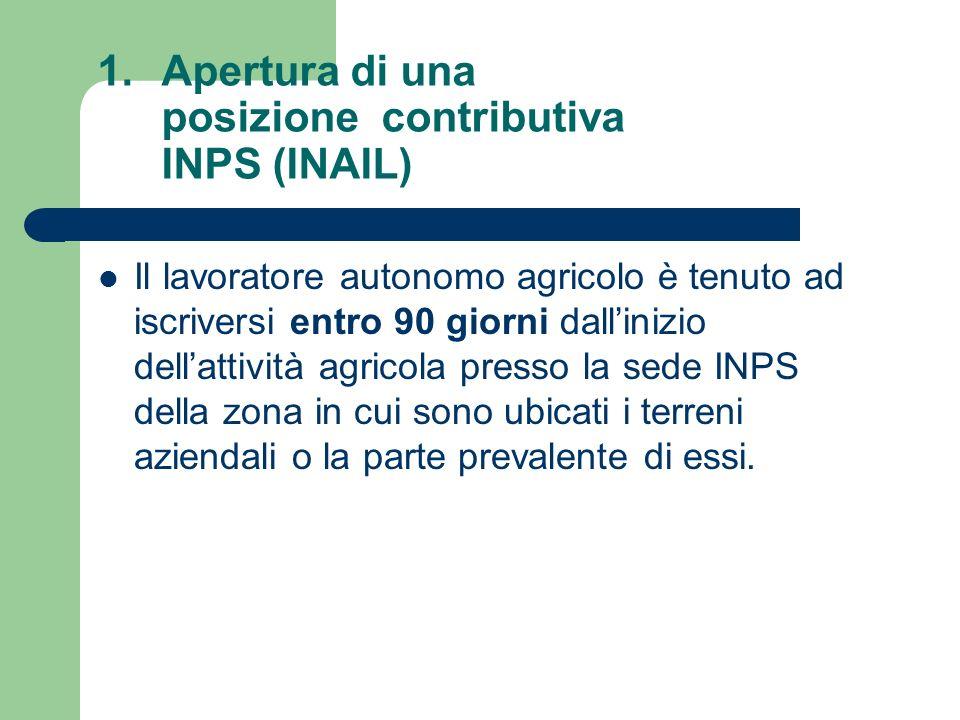 Apertura di una posizione contributiva INPS (INAIL)
