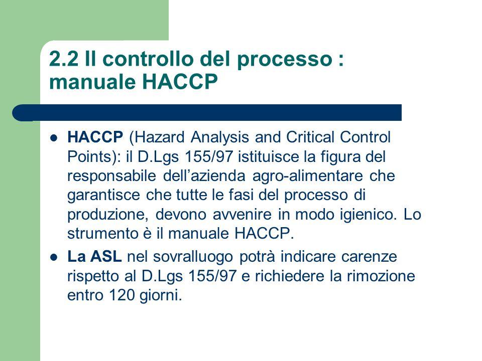 2.2 Il controllo del processo : manuale HACCP