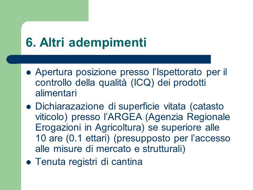6. Altri adempimenti Apertura posizione presso l'Ispettorato per il controllo della qualità (ICQ) dei prodotti alimentari.