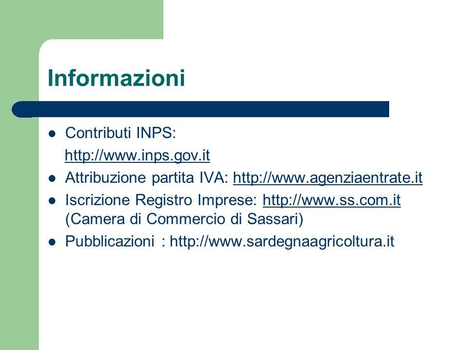Informazioni Contributi INPS: http://www.inps.gov.it