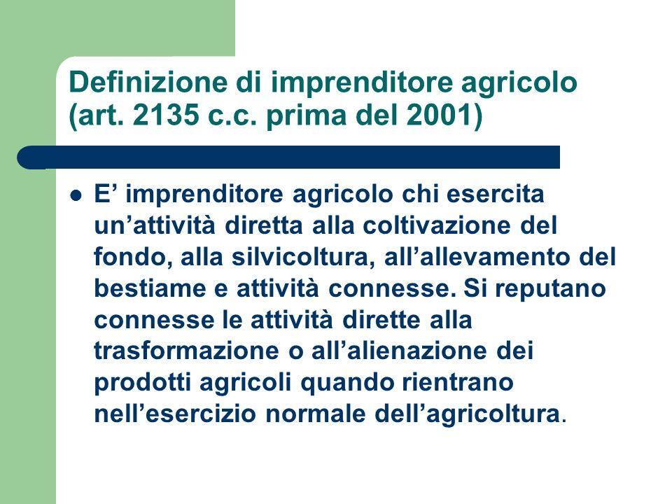 Definizione di imprenditore agricolo (art. 2135 c.c. prima del 2001)
