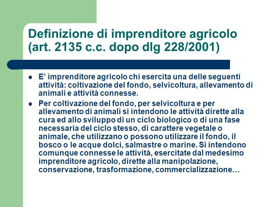 Definizione di imprenditore agricolo (art. 2135 c. c
