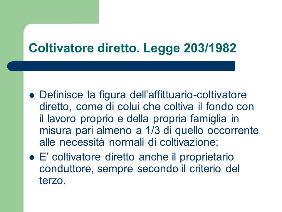 Coltivatore diretto. Legge 203/1982
