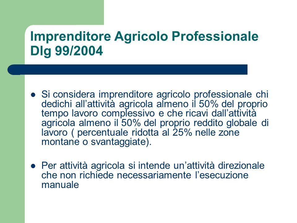 Imprenditore Agricolo Professionale Dlg 99/2004
