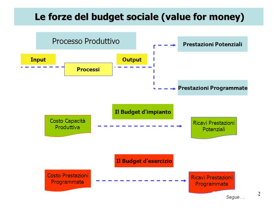 Le forze del budget sociale (value for money)